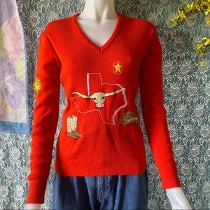 LEROY KNITWEAR VINTAGE 1970s ORANGE SWEATER size M